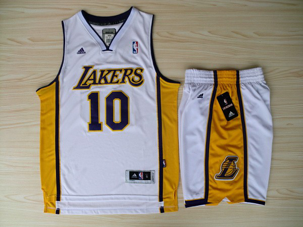 NBA Los Angeles Lakers 10 Steve Nash White Jerseys with Shorts