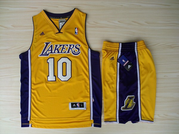 NBA Los Angeles Lakers 10 Steve Nash Yellow Jerseys with Shorts