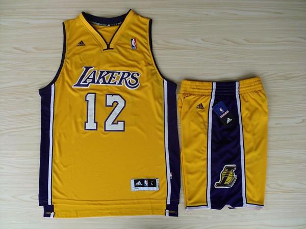 NBA Los Angeles Lakers 12 Dwight Howard Yellow Jerseys with Shorts