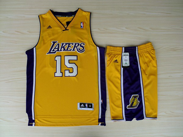 NBA Los Angeles Lakers 15 Ron Artest Yellow Jerseys with Shorts