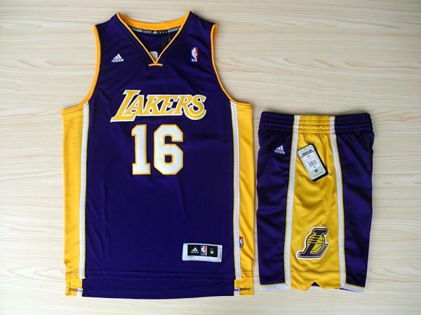 NBA Los Angeles Lakers 16 Pau Gasol Purple Jerseys with Shorts