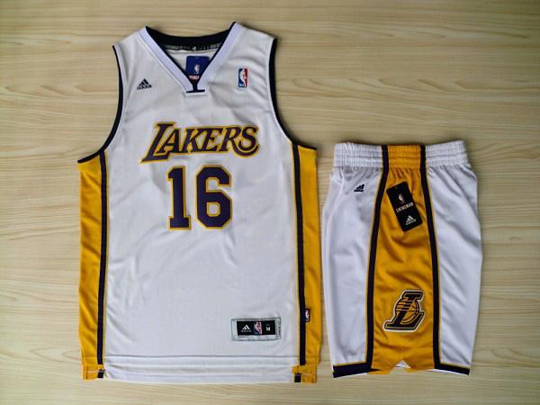 NBA Los Angeles Lakers 16 Pau Gasol White Jerseys with Shorts