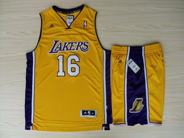 NBA Los Angeles Lakers 16 Pau Gasol Yellow Jerseys with Shorts