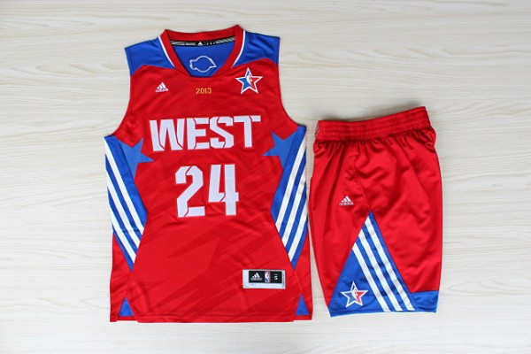 NBA Los Angeles Lakers 24 Kobe Bryant All-Star Red Jerseys with shorts