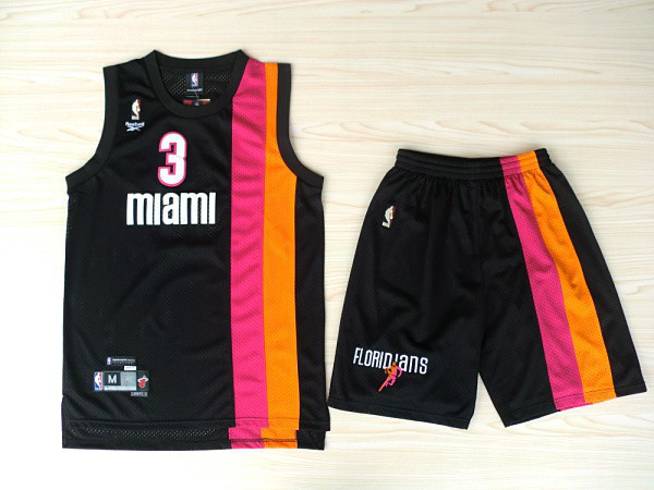 NBA Miami Heat 3 Dwyane Wade Black ABA Rainbow Black Jerseys with shorts