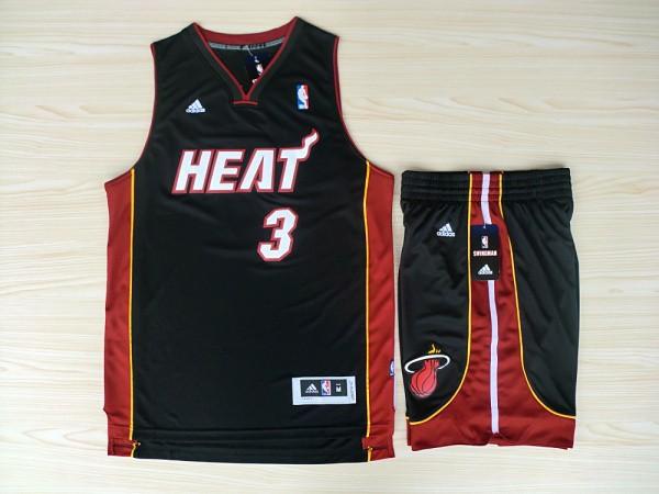 NBA Miami Heat 3 Dwyane Wade Black red Jerseys with shorts