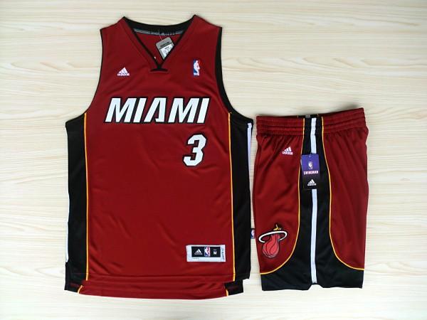 NBA Miami Heat 3 Dwyane Wade Red Jerseys with shorts