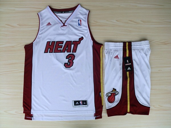 NBA Miami Heat 3 Dwyane Wade White red Jerseys with shorts