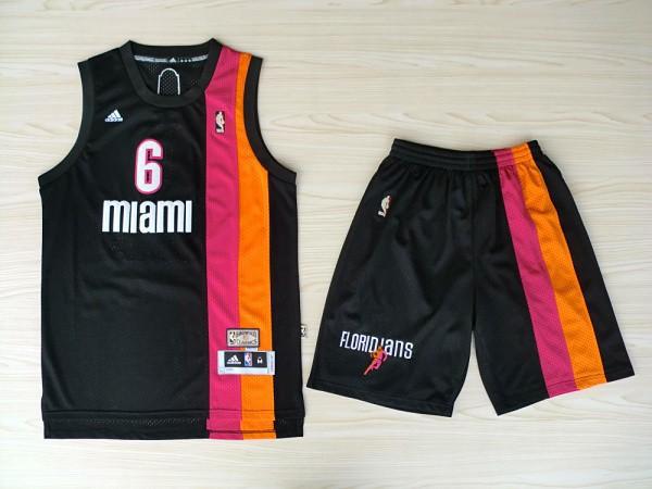 NBA Miami Heat 6 LeBron James ABA Rainbow Black Jerseys with shorts