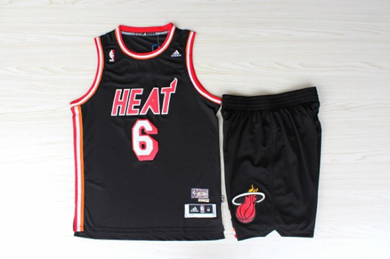 NBA Miami Heat 6 Lebron James throwback 1990 black jersey with shorts