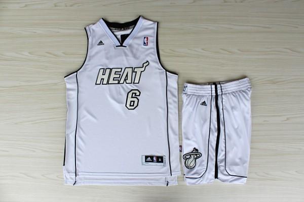NBA Miami Heat 6 Lebron James White Jerseys with shorts
