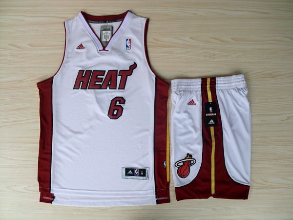 NBA Miami Heat 6 LeBron James White red Jerseys with shorts