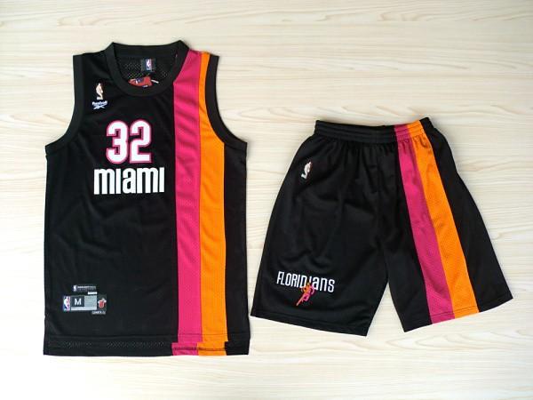 NBA Miami Heat 32 Shaquille O'Neal ABA Rainbow Black Jerseys with shorts