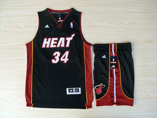 NBA Miami Heat 34 Ray Allen Black red Swingman Jerseys with shorts