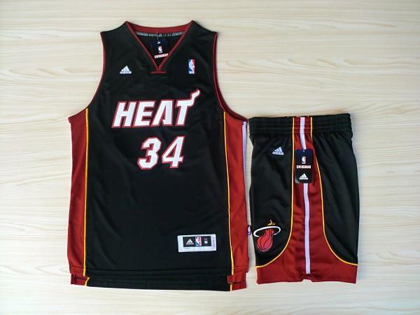 NBA Miami Heat 34 Ray Allen Black red Swingman Jerseys with shorts