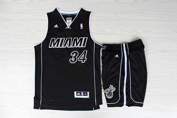 NBA Miami Heat 34 Ray Allen Black Swingman Jerseys with shorts