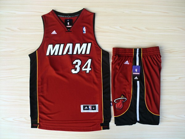 NBA Miami Heat 34 Ray Allen Red Swingman Jerseys with shorts