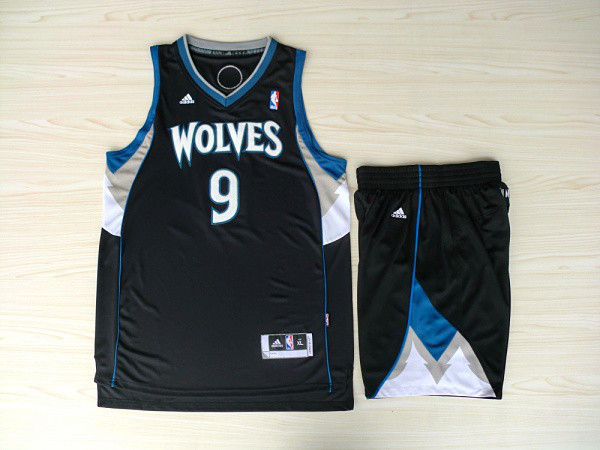 NBA Minnesota Timberwolves 9 Ricky Rubio Black Jerseys with shorts