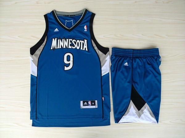 NBA Minnesota Timberwolves 9 Ricky Rubio Blue Jerseys with shorts