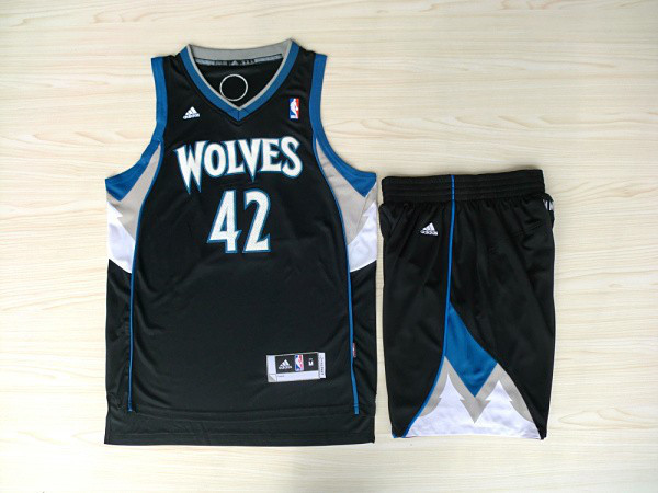NBA Minnesota Timberwolves 42 Kevin Love Black Jerseys with shorts