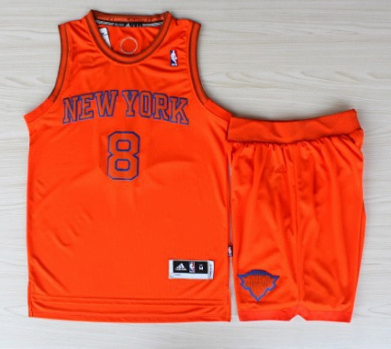 NBA New York Knicks 8 J.R. Smith Christmas Day orange jersey with Shorts
