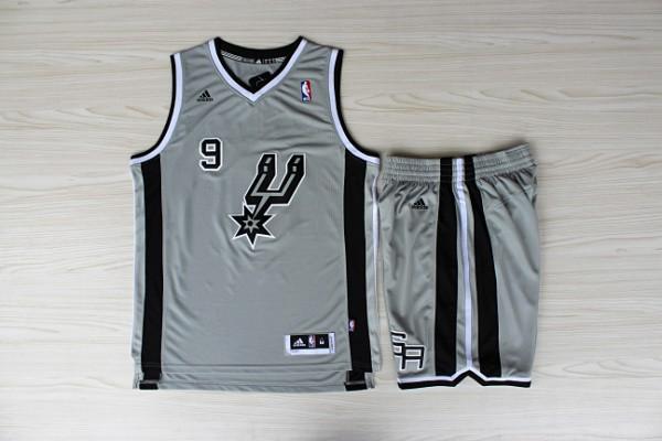 NBA San Antonio Spurs 9 Tony Parker Gray Jerseys with Shorts
