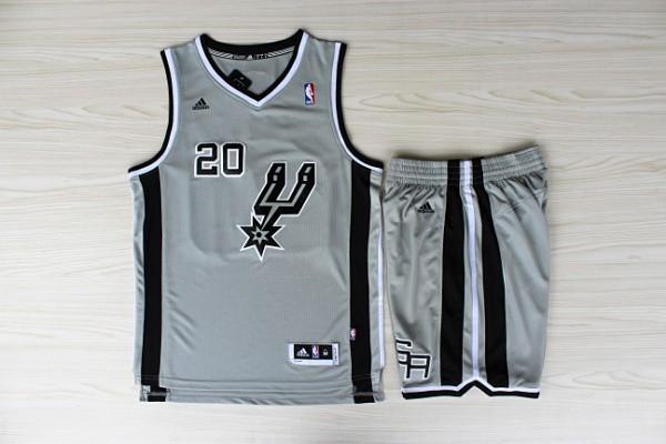 NBA San Antonio Spurs 20 Manu Ginobili Gray Jerseys with Shorts