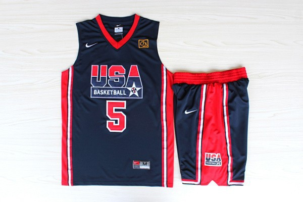 NBA Swingman Dream Team USA 5 Robinson Blue Retro in Barcelona 1992 Olympic Jerseys With Shorts