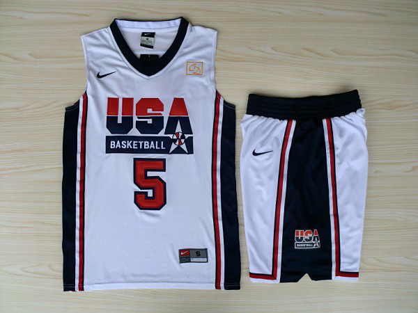 NBA Swingman Dream Team USA 5 Robinson White Retro in Barcelona 1992 Olympic Jersey with shorts