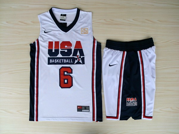 NBA Swingman Dream Team USA 6 Ewing White Retro in Barcelona 1992 Olympic Jersey with shorts