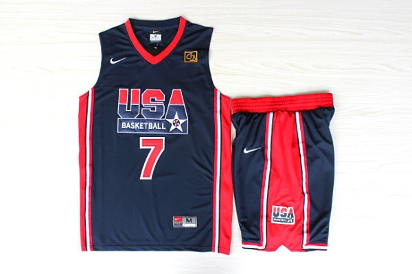 NBA Swingman Dream Team USA 7 Bird Blue Retro in Barcelona 1992 Olympic Jerseys With Shorts