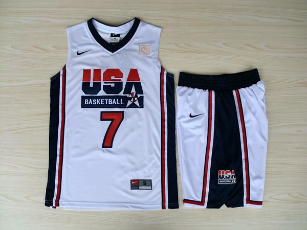 NBA Swingman Dream Team USA 7 Bird White Retro in Barcelona 1992 Olympic Jersey with shorts