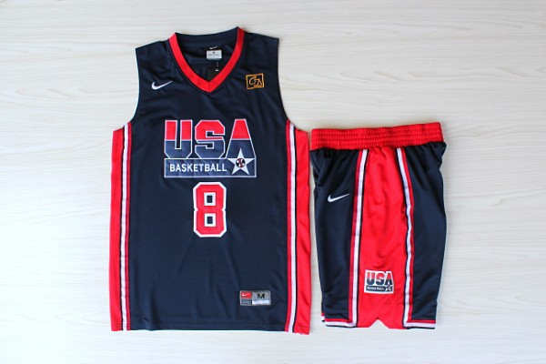NBA Swingman Dream Team USA 8 Scottie Pippen Blue In Barcelona 1992 Olympics Jerseys With Shorts