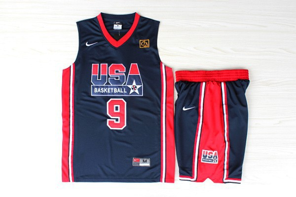 NBA Swingman Dream Team USA 9 Michael Jordan Blue Retro in Barcelona 1992 Olympic Jerseys With Shorts