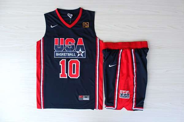 NBA Swingman Dream Team USA 10 Kobe Bryant Blue Retro in Barcelona 1992 Olympic Jerseys With Shorts