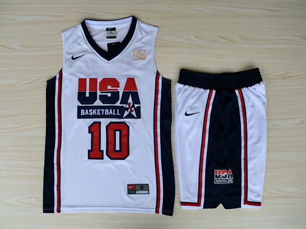 NBA Swingman Dream Team USA 10 Kobe Bryant White Retro in Barcelona 1992 Olympic Jersey with shorts
