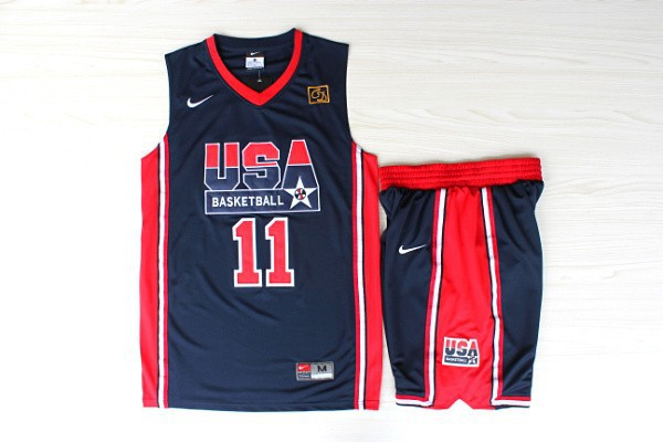 NBA Swingman Dream Team USA 11 Malone Blue Retro in Barcelona 1992 Olympic Jerseys With Shorts