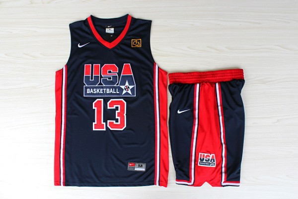 NBA Swingman Dream Team USA 13 Mullin Blue Retro in Barcelona 1992 Olympic Jerseys With Shorts