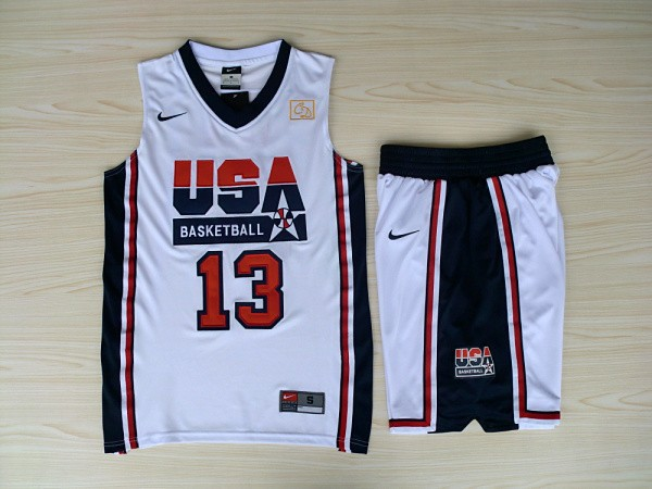 NBA Swingman Dream Team USA 13 Mullin White Retro in Barcelona 1992 Olympic Jersey with shorts