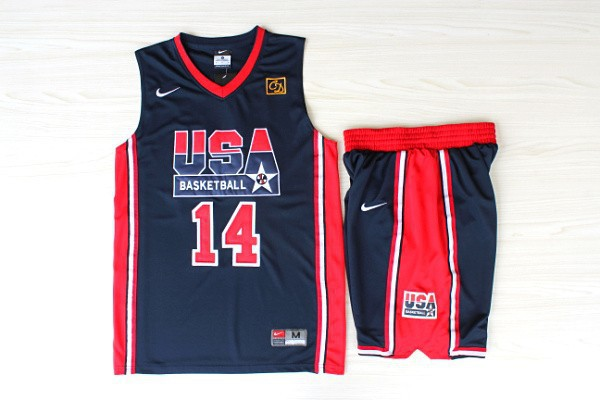 NBA Swingman Dream Team USA 14 Charles Barkley Blue Retro in Barcelona 1992 Olympic Jerseys With Shorts