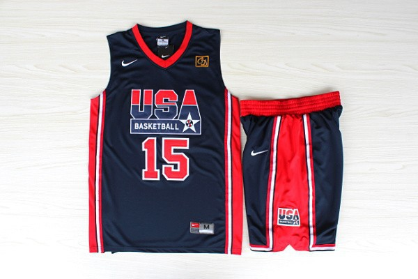 NBA Swingman Dream Team USA 15 Johnson Blue Retro in Barcelona 1992 Olympic Jerseys With Shorts