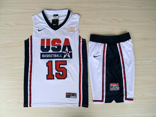 NBA Swingman Dream Team USA 15 Johnson White Retro in Barcelona 1992 Olympic Jersey with shorts