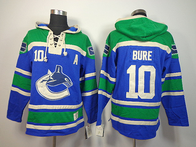 NHL Vancouver Canucks 10 Pavel Bure Blue Old Time Hockey Sawyer Lace Up Pullover Hooded Sweatshirt