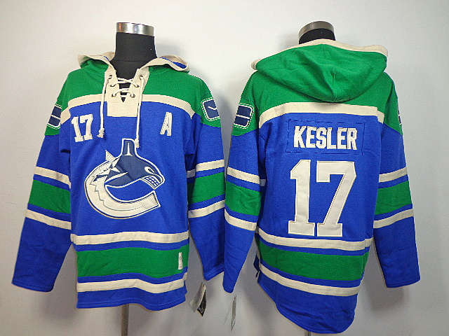 NHL Vancouver Canucks 17 Ryan Kesler Blue Old Time Hockey Sawyer Lace Up Pullover Hooded Sweatshirt
