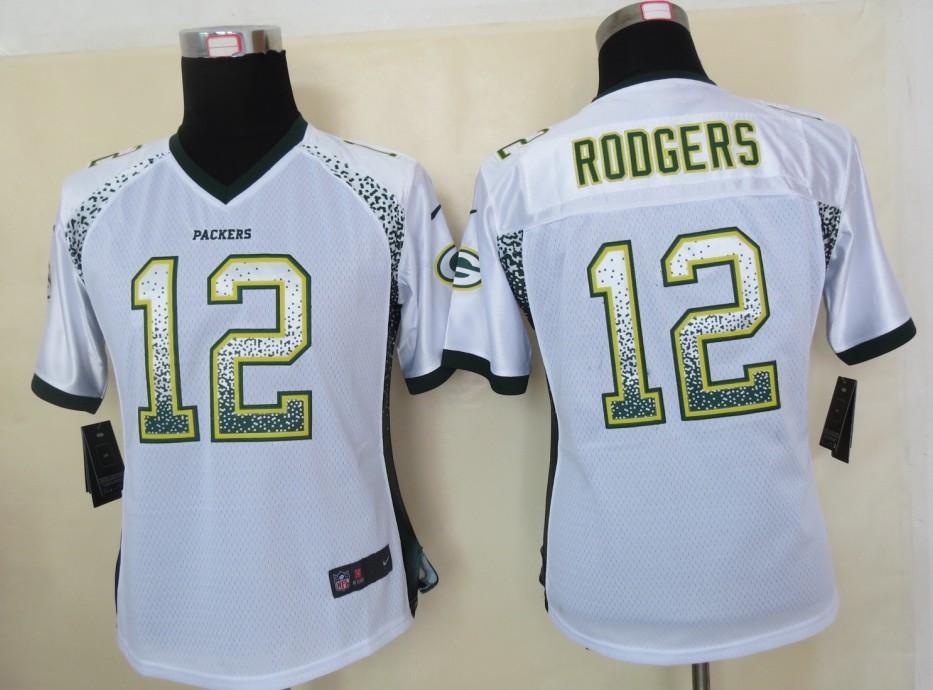 Women 2013 NEW Nike Green Bay Packers 12 Rodgers Drift Fashion White Elite Jerseys