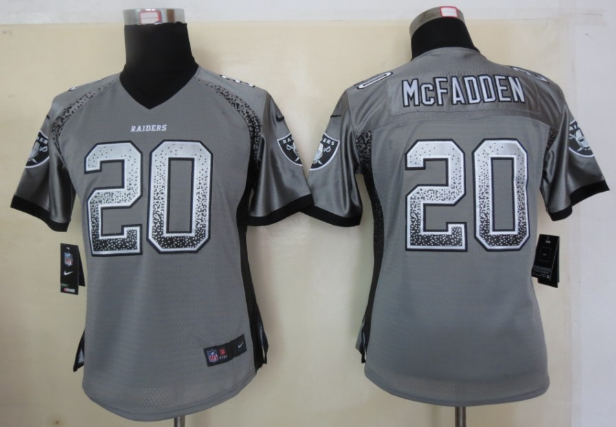 Women 2013 New Nike Oakland Raiders 20 McFadden Drift Fashion Grey Elite Jersey