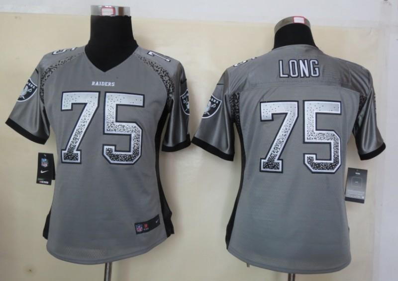 Women 2013 New Nike Oakland Raiders 75 Long Drift Fashion Grey Elite Jerseys