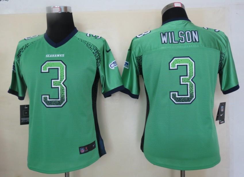 Women 2013 New Nike Seattle Seahawks 3 Wilson Drift Fashion Green Elite Jerseys