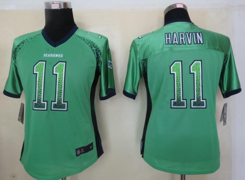 Women 2013 New Nike Seattle Seahawks 11 Harvin Drift Fashion Green Elite Jerseys