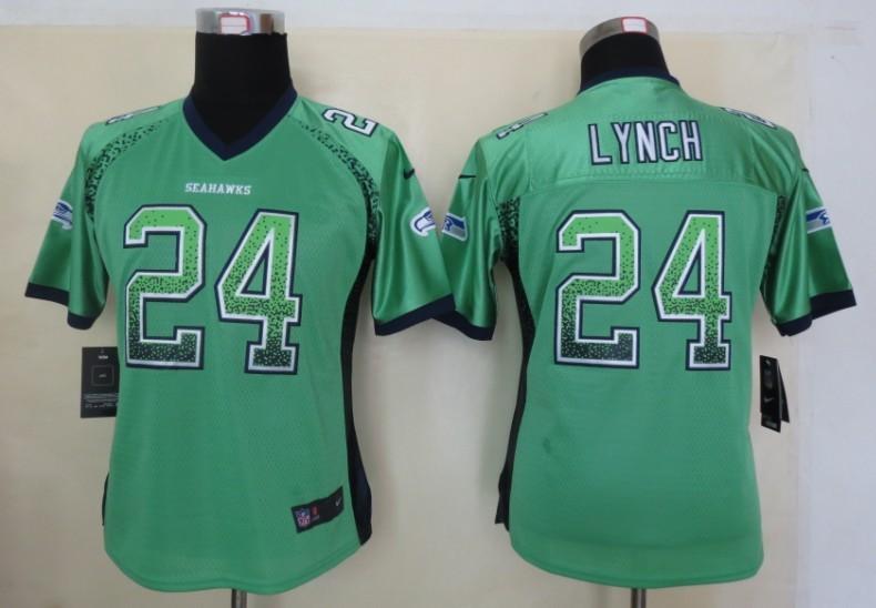 Women 2013 New Nike Seattle Seahawks 24 Lynch Drift Fashion Green Elite Jerseys